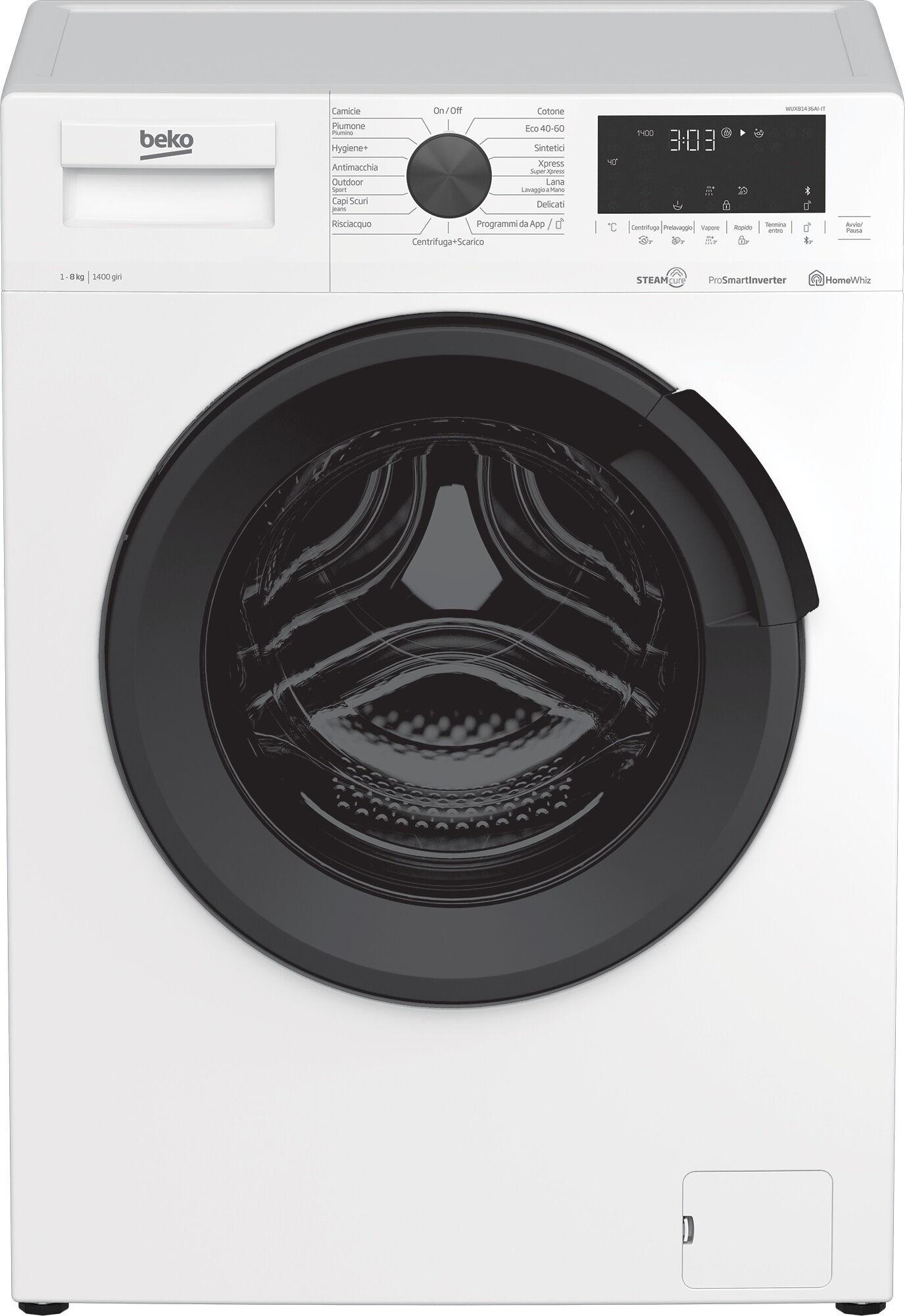 Beko Lavatrice a Vapore WUX81436AI-IT, 8 kg, 1400 giri/min