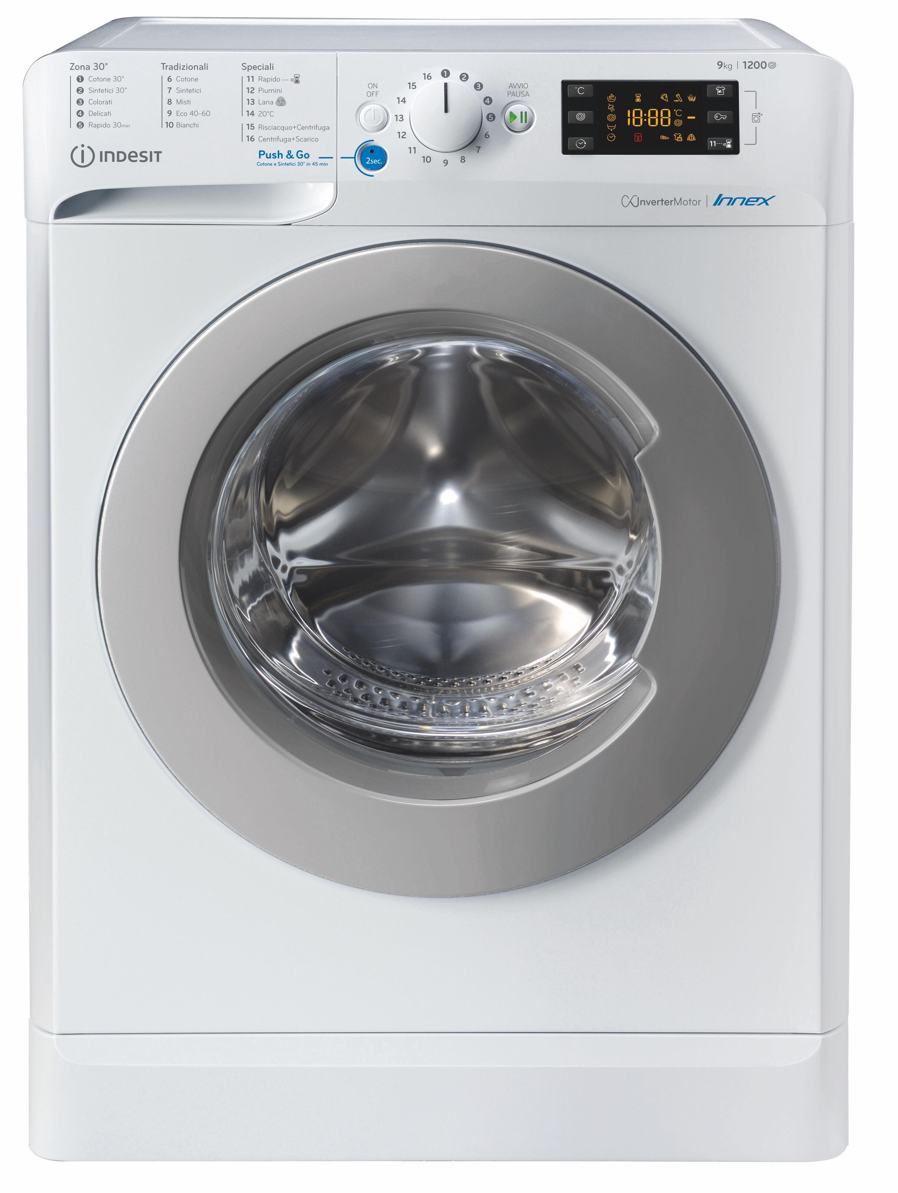 Indesit BWE 91284X WS IT N lavatrice Libera installazione Caricamento frontale 9 kg 1200 Giri/min C Bianco