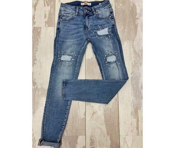 Take Two Jeans Lavaggio Medio Strappi E Perle Vestibilità Slim
