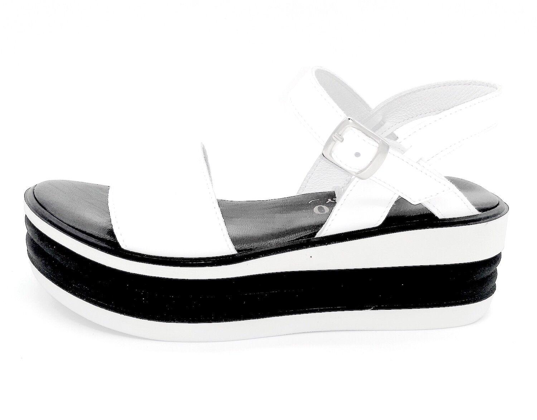 ESTRO Made in Italy Sandalo Con Zeppa Rigata E Fascia In Pelle - Bianco - - M-E46-19
