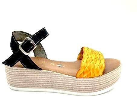 ESTRO Made in Italy Sandalo Zeppa Con Fascia Intrecciata - Giallo - - M-5530-19