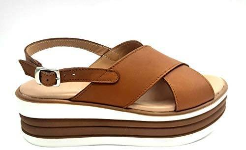 ESTRO Made in Italy Sandalo Zeppa Con Fasce Incrociate - Cuoio - - M-521-20