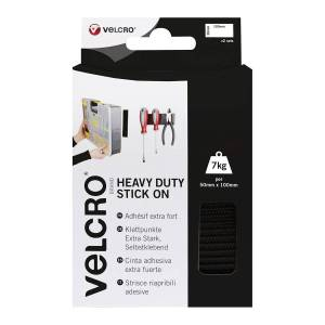 Strisce Velcro Adesive 10 Cm 50 Mm Riapribili Extra-Strong Nero
