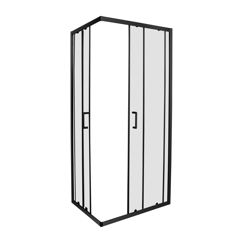box doccia perloz 70x90 h 190 cm vetro temperato trasparente 6 mm profili neri