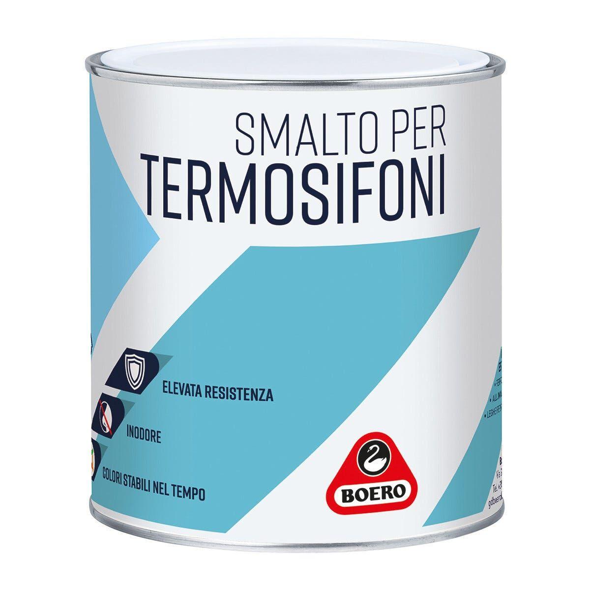 BOERO Smalto Acqua Per Termosifoni 0,75 L Bianco Grigio Pronto Uso 10-12 M² X 1 L