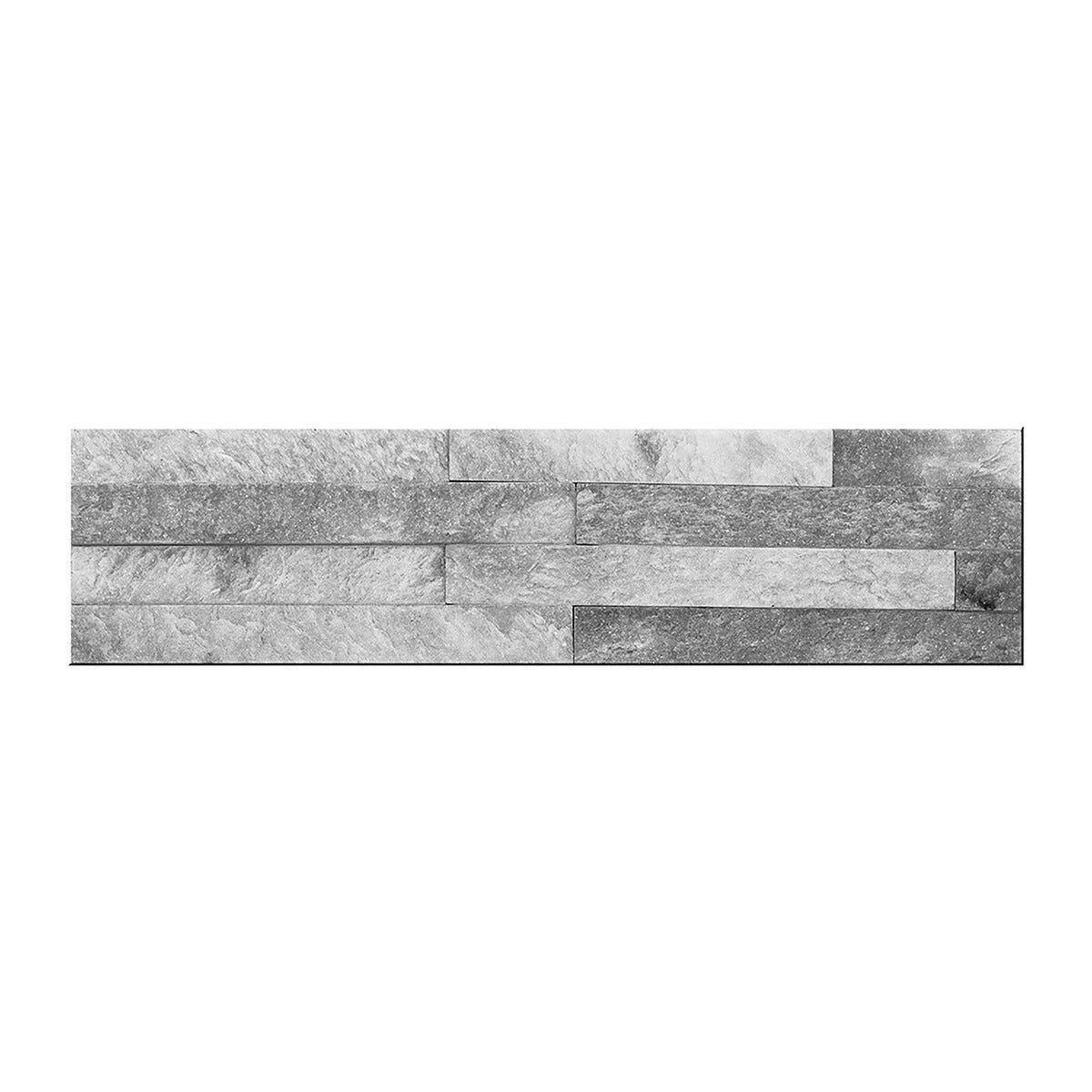 ACCADEMIA_61 Placchetta Pietra Cloudy Grey 10x40cm 12 Pezzi 4 Liste