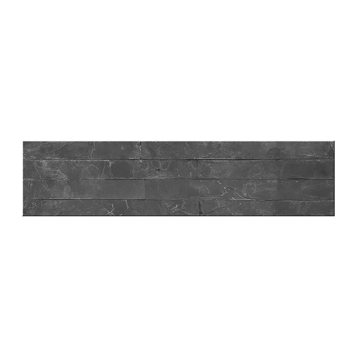 ACCADEMIA_61 Placchetta Pietra Naturale Nera 10x40cm 12 Pezzi 4 Liste