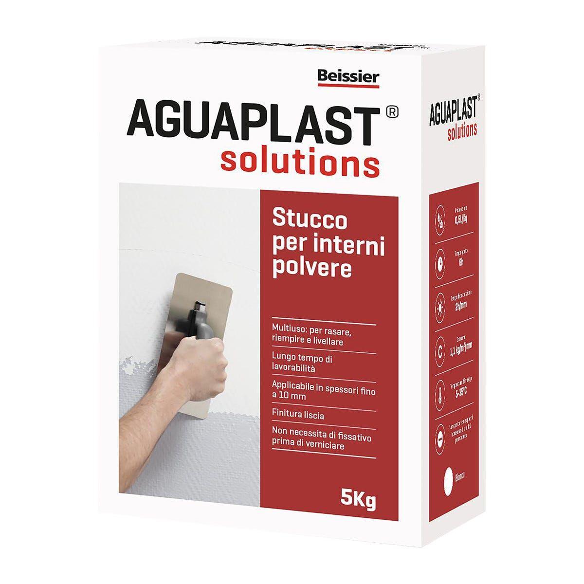 AGUAPLAST Stucco Per Interni In Polvere  Bianco 5 Kg Spessori Fino A 10 Mm