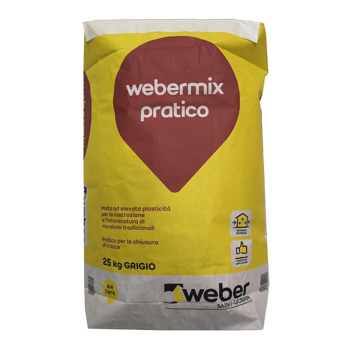 weber malta cementizia weber mix 25 kg per allettamento e intonaco su laterizio e blocchi