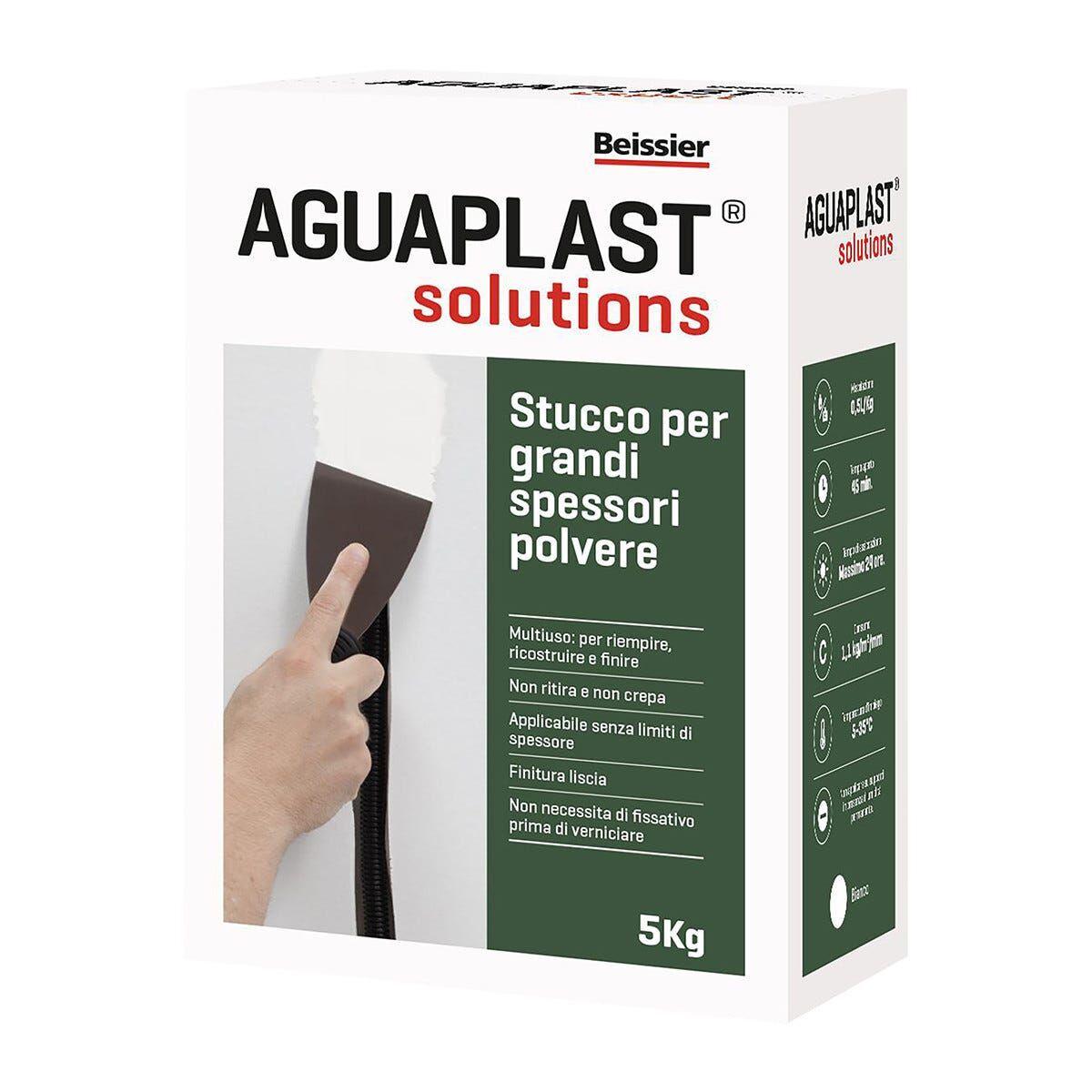 AGUAPLAST Stucco Grandi Spessori Polvere  Bianco 5 Kg Spessori Fino A 100 Mm Per Interno
