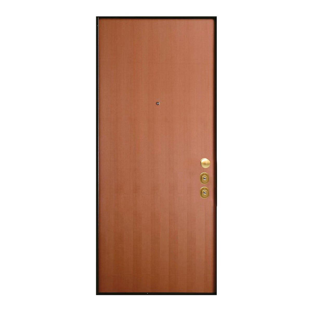 Porta Blindata Wood Doppio Cilindro Apertura Spinta A Destra 210x90 Cm (Hxl)