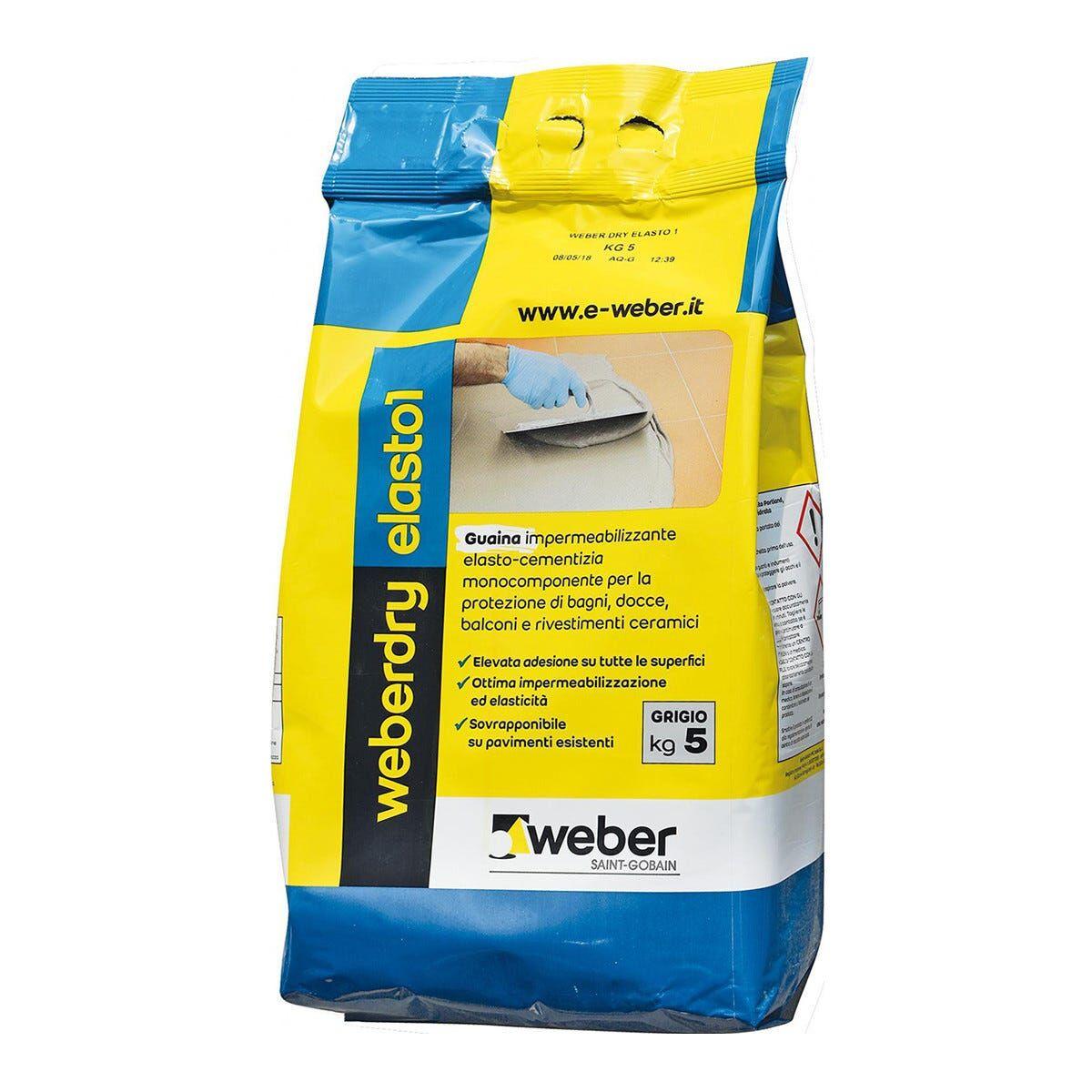 weber guaina cementizia weber dry elasto1 5 kg grigio