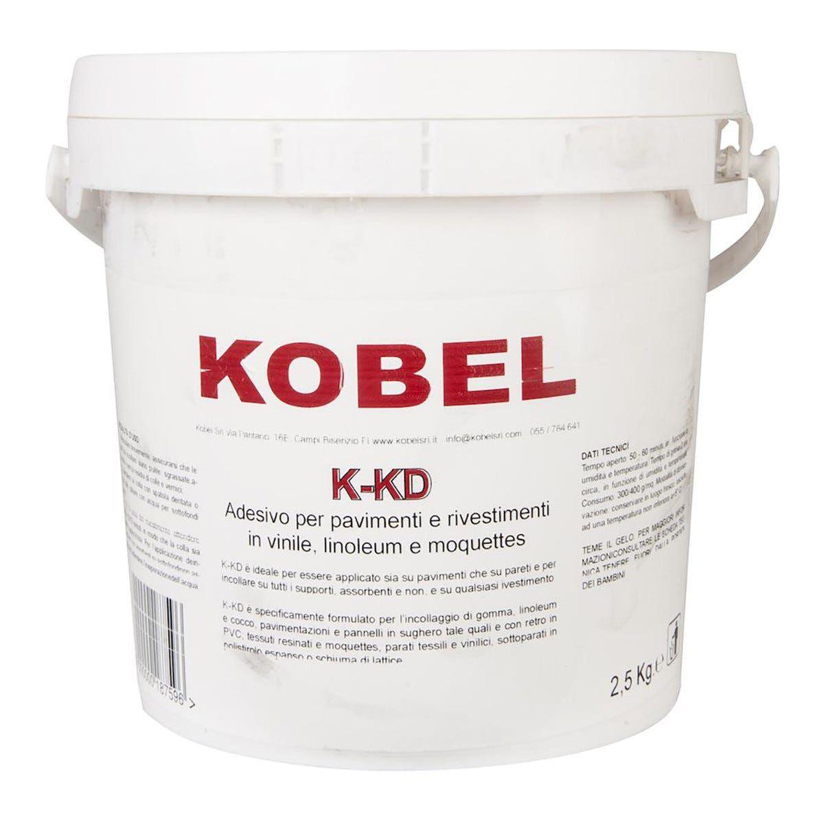 Collante Acrilico K-Kd Pvc Kobel 2,5 Kg Incolla Linoleum Gomma Moquettes Agugliati Feltro