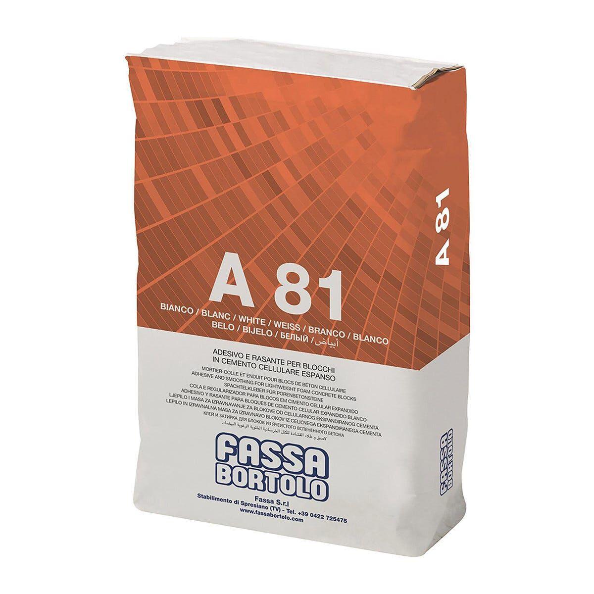 Collante E Rasante Bianco A81 Fassa Per Gasbeton E Ytong 25 Kg