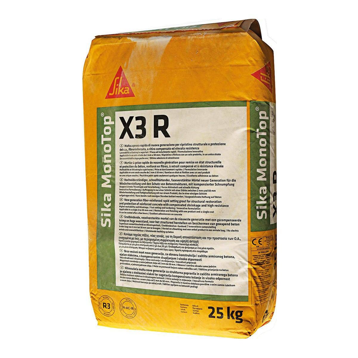SIKA Malta Strutt. R3 Monotop X3 R 25 Kg Per Ripristino Calcestruzzo R3 25 Kg