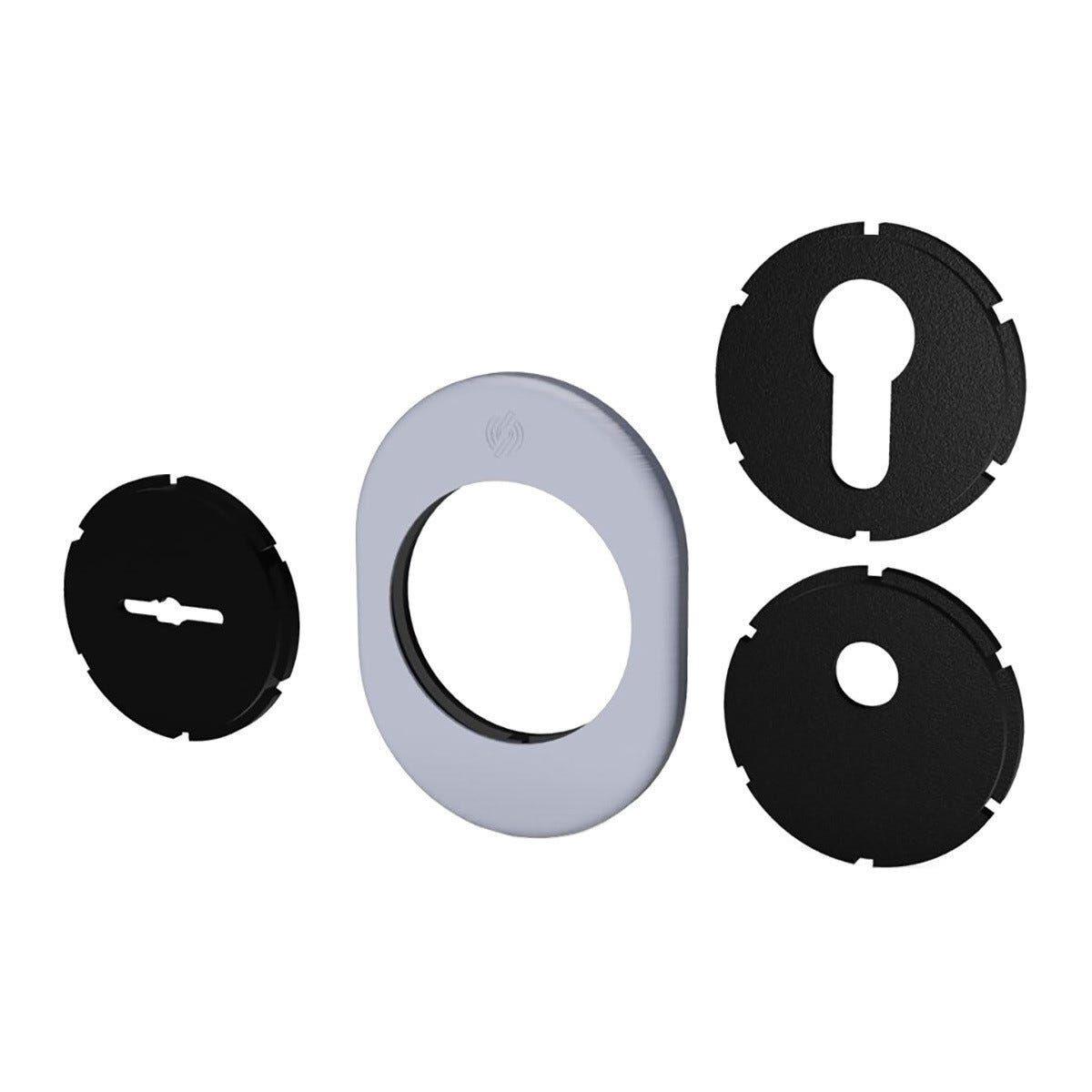 SECUREMME Kit Mostrina Universale Cromo Satinato 82x62mm Per Porte Blindate