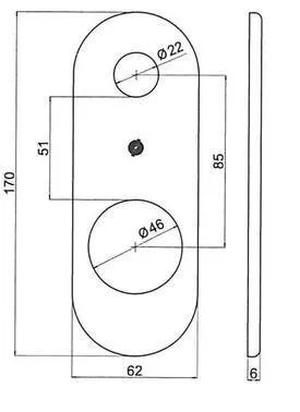 SECUREMME Kit Placca Lunga Universale Cilindro Cromo Satinato 170x62mm Per Porte Blindate