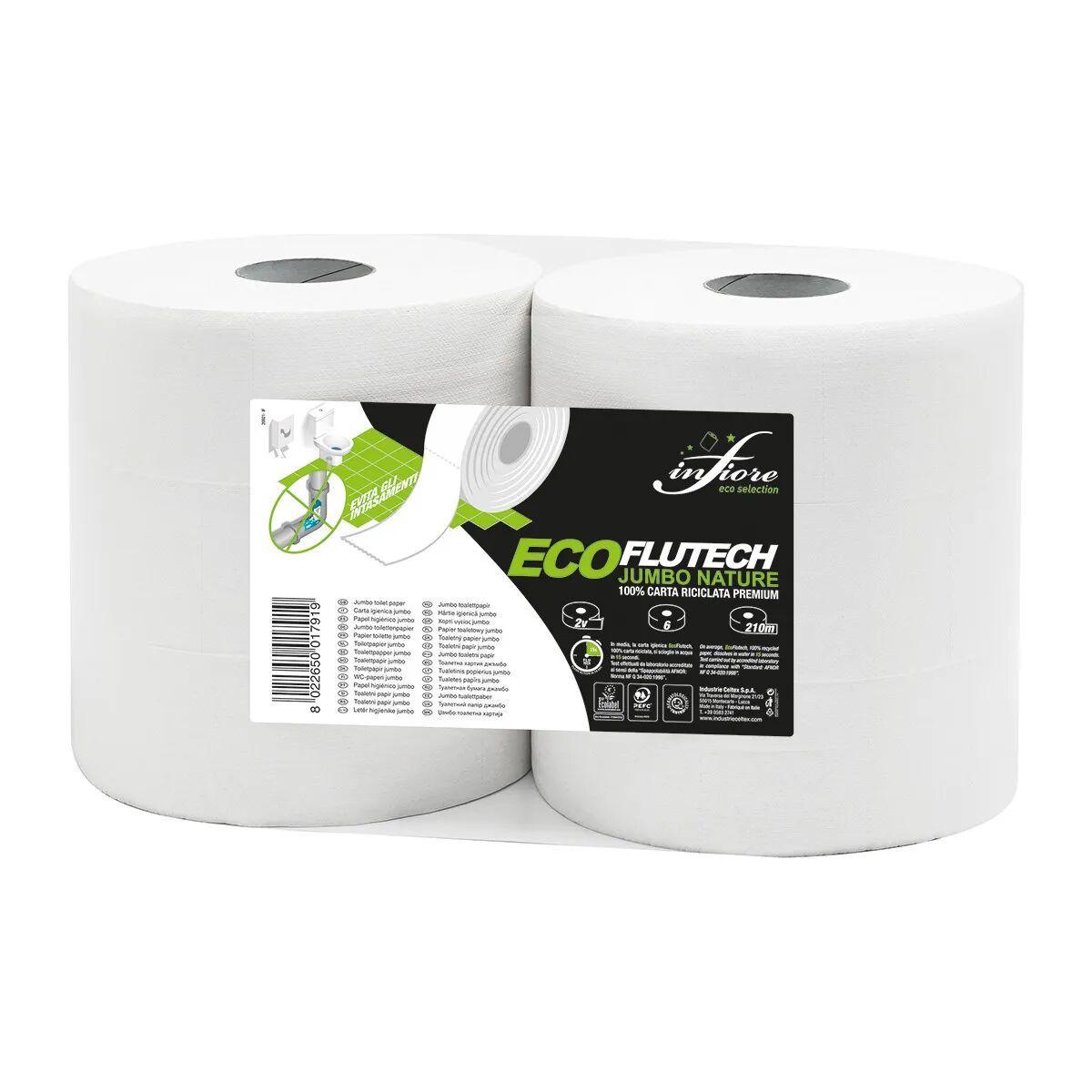 6 Rotoli Carta Igienica Jumbo Idrosolub In 15 Secondi 210m X 9,2 Cm 2 Veli Cellulosa Ecologica