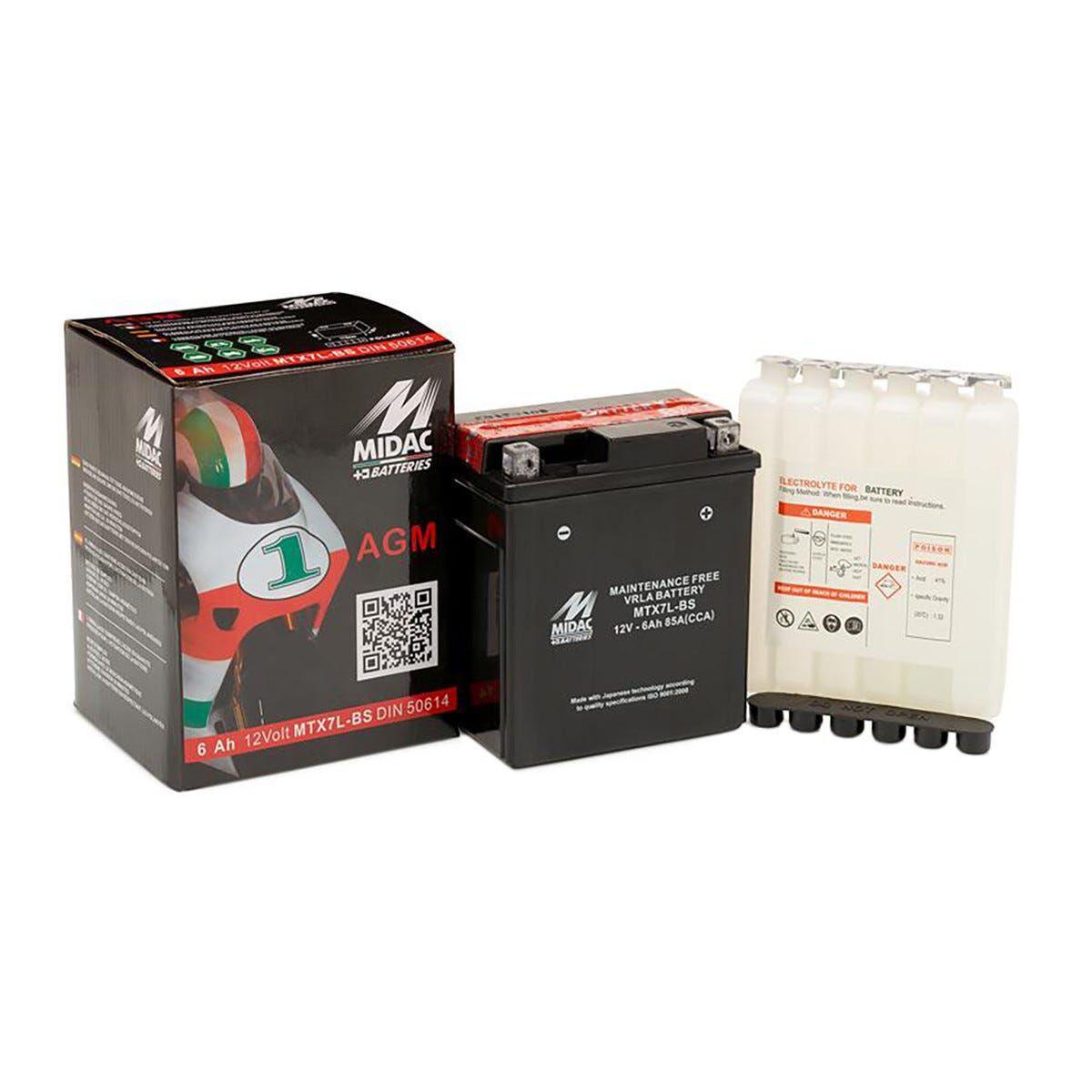 Batteria Moto 6 Ah Midac Con Flaconcini Acido 113x70x130 Mm (Lxpxh) Peso 2,504 Kg