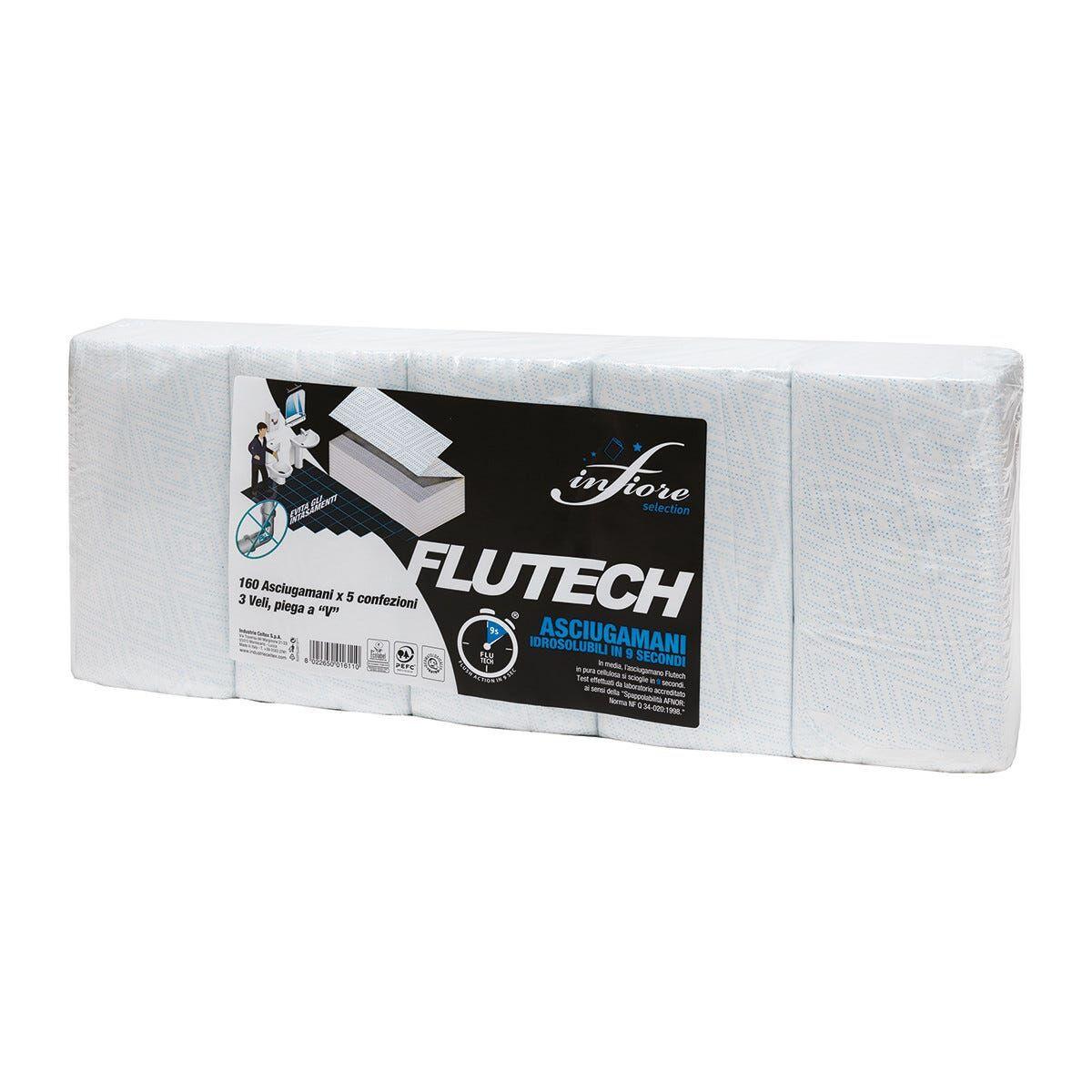 5 Pacchi 160 Asciugamani A V Idrosol 15 Secondi 22x22cm 3 Veli Pura Cellulosa100% Microgoffrata