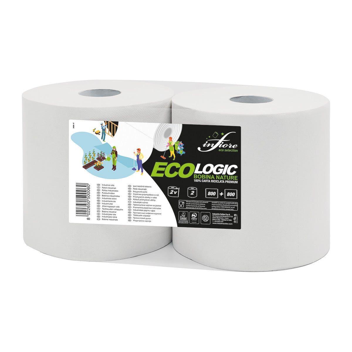 2 Rotoli Di Carta 800 Strappi 170 M X 22 Cm (Lxh) Ø26 Cm 2 Veli Cellulosa Ecologica