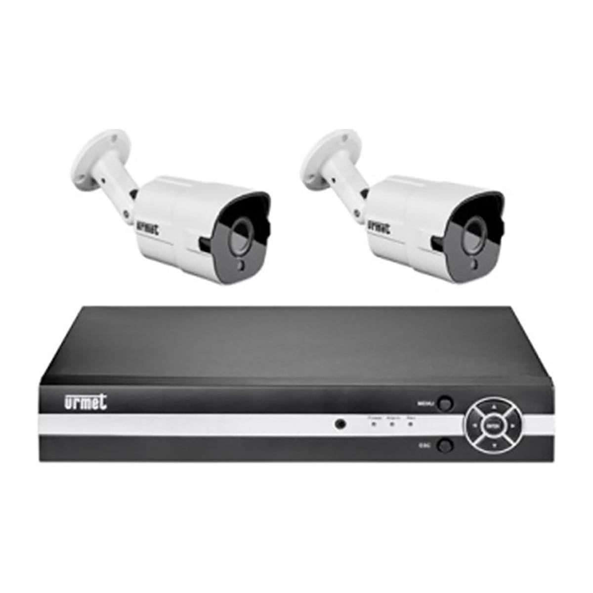 URMET Kit Videosorveglianza  Filare Ahd 4 Canali Due Telecamere 4 Mpx E Hard Disk Da 1 Tb