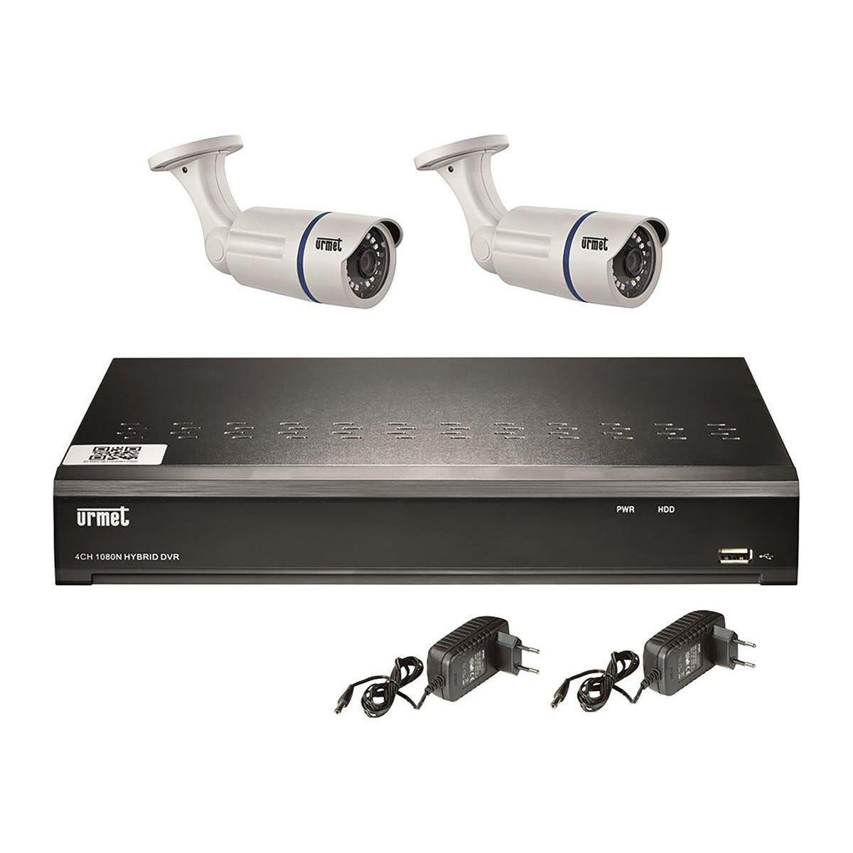 URMET Kit Videosorveglianza  Con 1 Hvr 4 Ch 1080n 2 Telecamere Ahd 1080p 2 Mpx Ottica 3,6 Mm