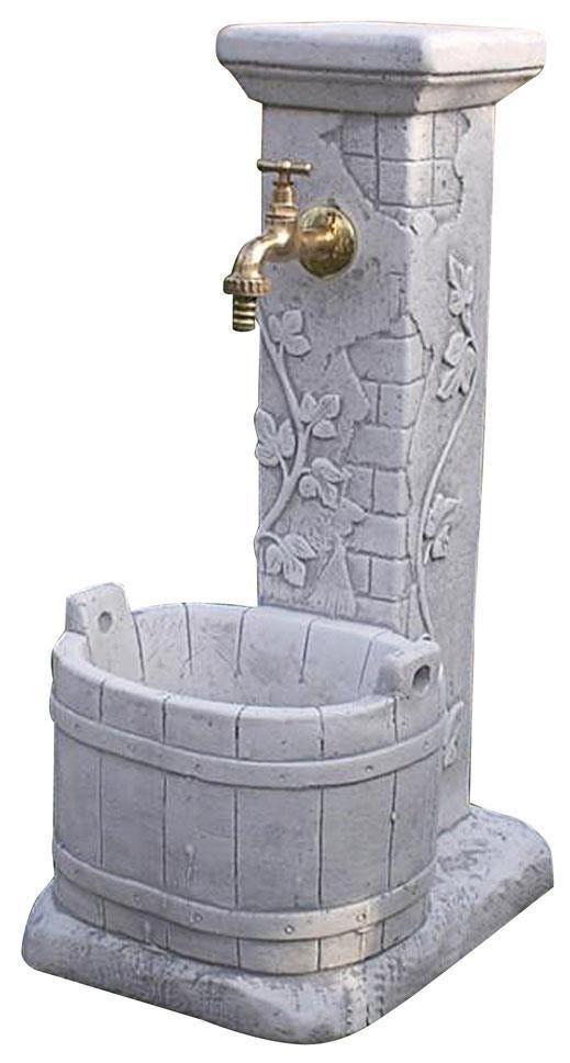 Fontana Villarasca Grigia In Cemento 27x37x63 Cm (Lxpxh) Peso 39 Kg