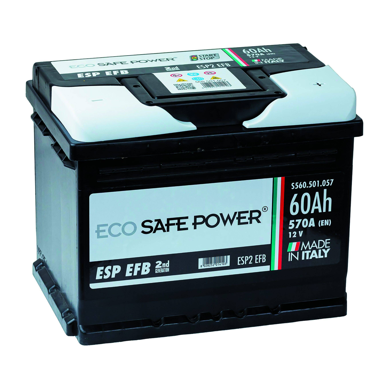 batteria auto 60 ah start & stop ecosafepower spunto 570 a 242x175x190 mm peso 14,7 kg