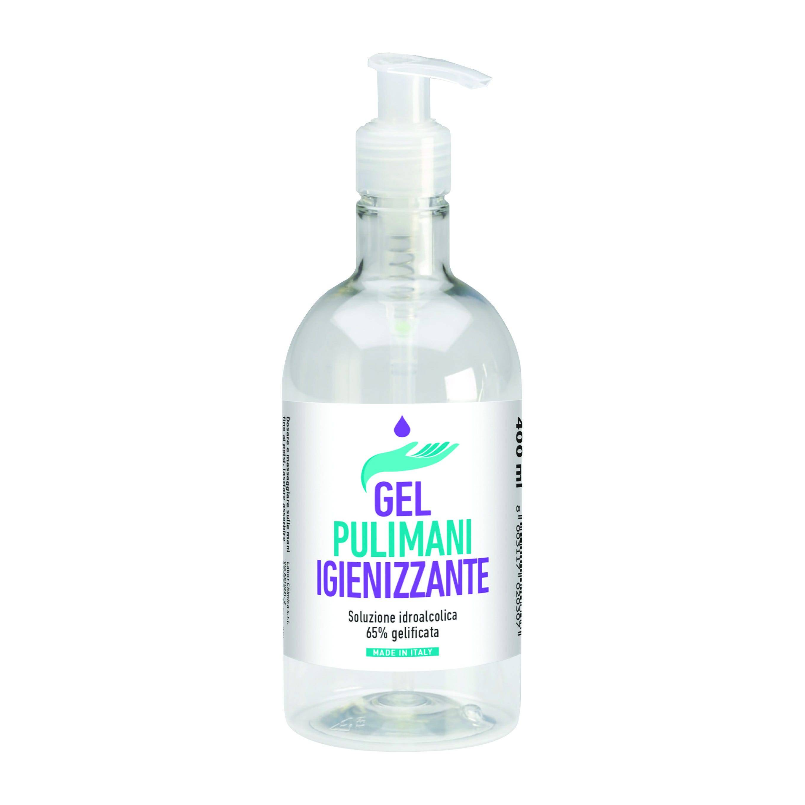 Gel Igienizzante Per Mani Labor 400 Ml 65% Alcool Con Dispenser