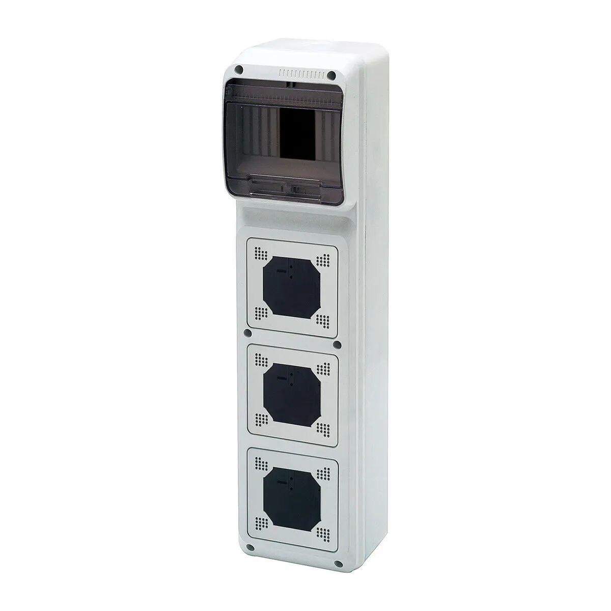 elettrocanali quadro elettrico vuoto per installazione fissa 3 prese verticali 4 moduli modello flangiato