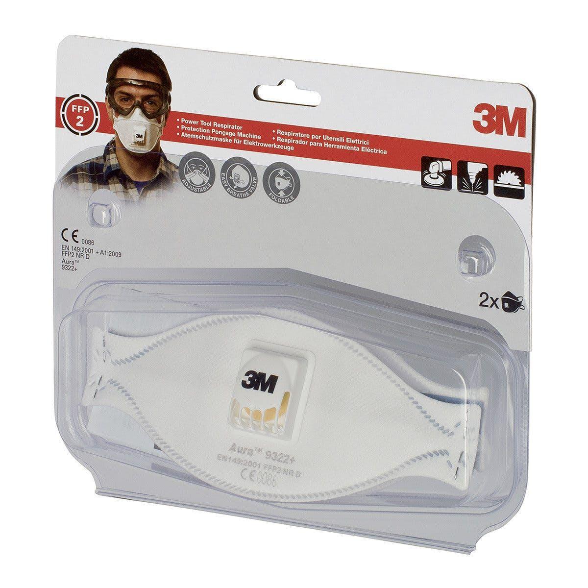 3m 2 maschere respiratori  9322 categoria p2 con valvola per polveri legno