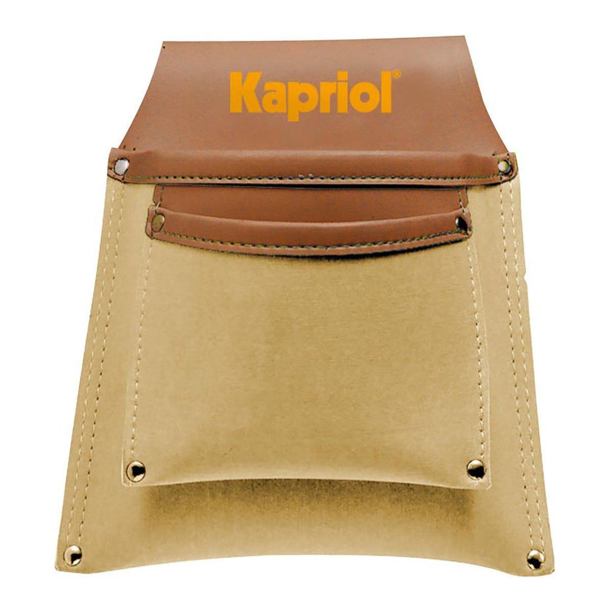 kapriol fodero porta utensili  in pelle  sintetica con doppia tasca sovrapposte e borchiate