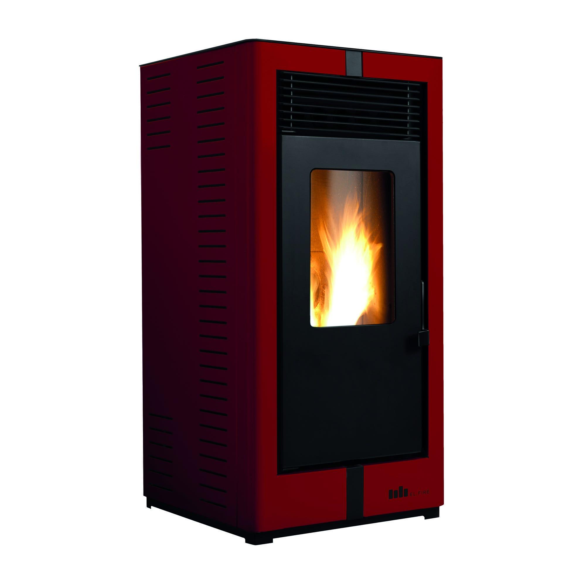 Stufa A Pellet Ad Aria El.Fire Noa S2 9,19 Kw Bordeaux