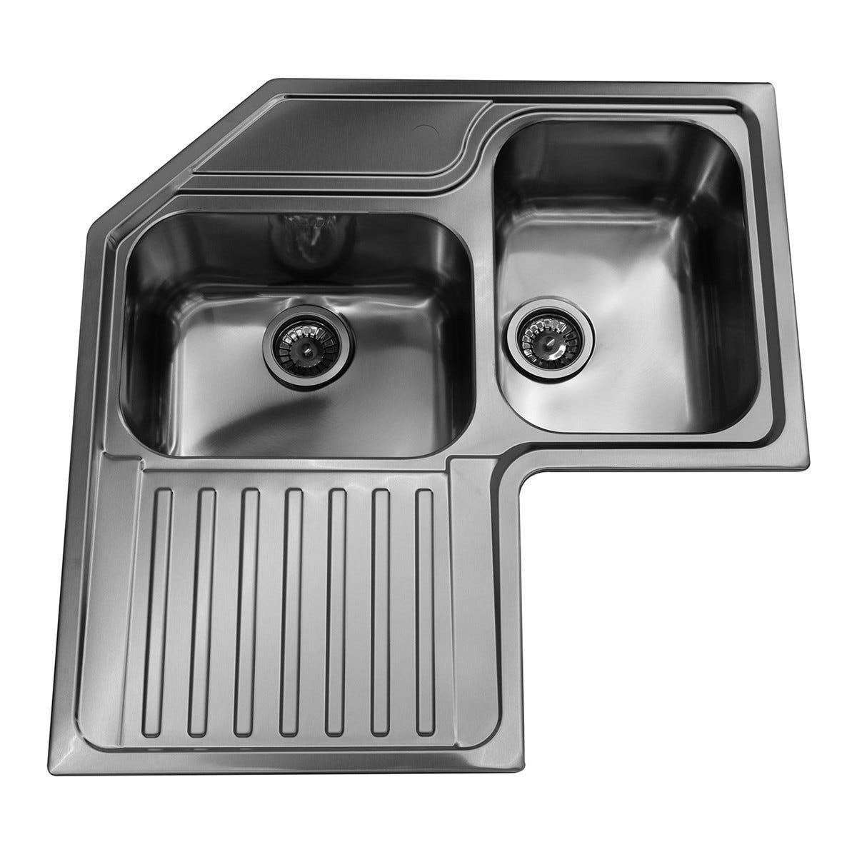 APELL Lavello Roma Ad Angolo 83x83 Cm Inox Spazzolato 2 Vasche Con Sgocciolatoio A Sinistra