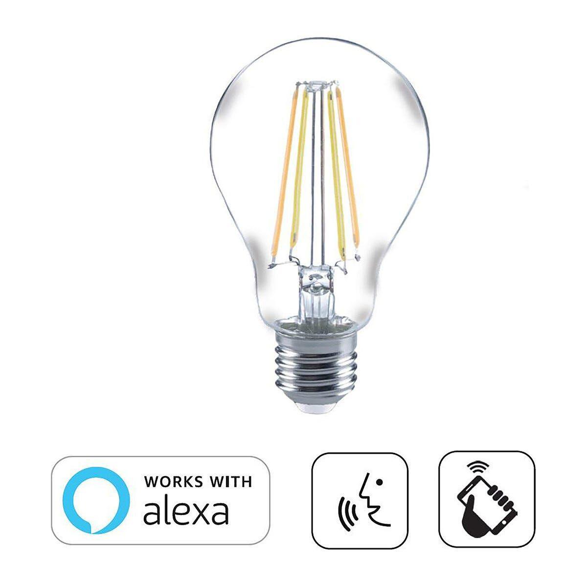 SUPREMA Lampadina Led Filamento Goccia E27 7w=60w 806 Lumen 2200k- 6500k Compatibile Con Alexa