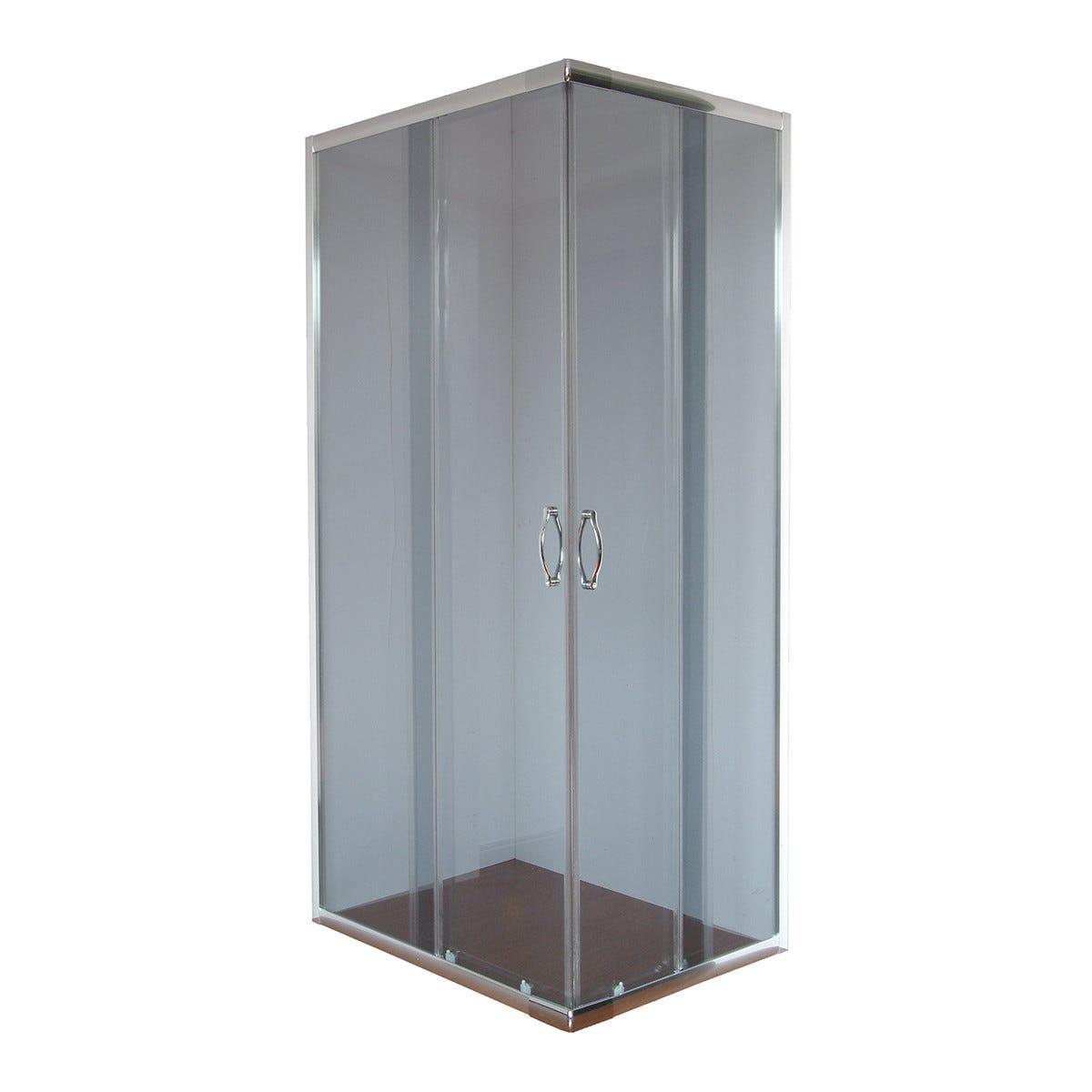 box doccia quattro rettangolare (70-80) x (90-100) h 190 cm vetro temperato fume' 4 mm
