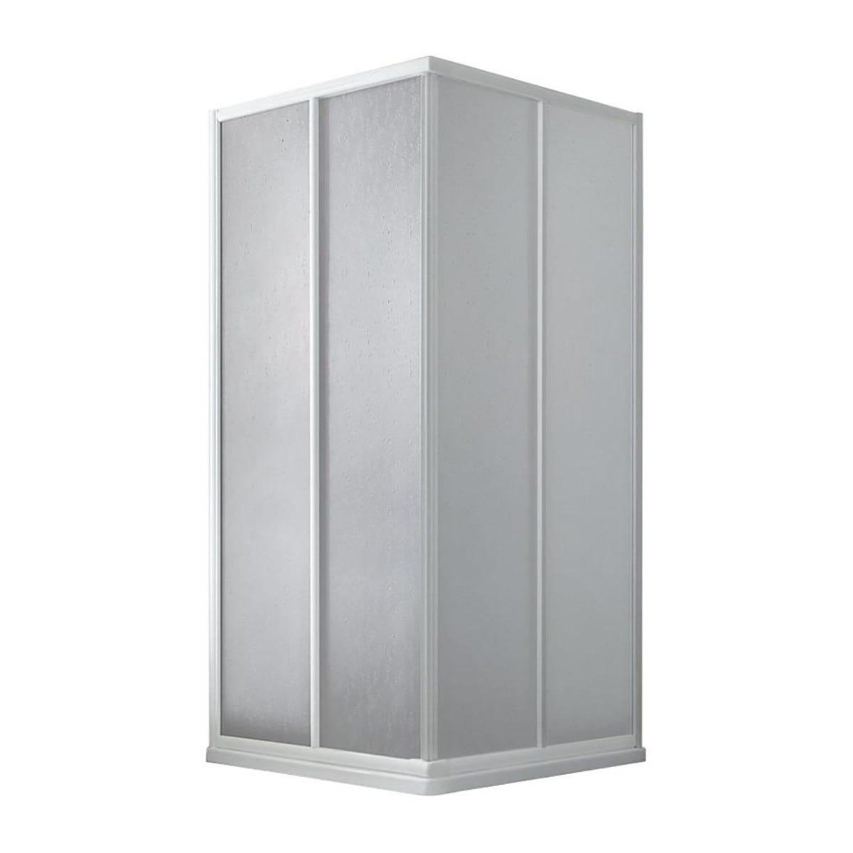box doccia rettangolare bahamas (65-80)x (75-90) h 183 cm acrilico 1,6 mm profili bianchi