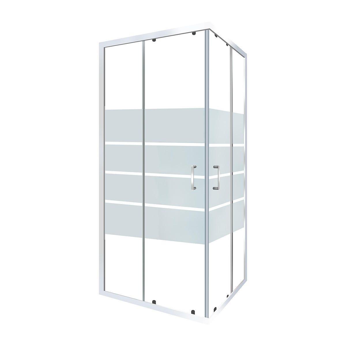 box doccia perloz 70x90 h 190 cm vetro temprato serigrafato 6 mm profili cromati
