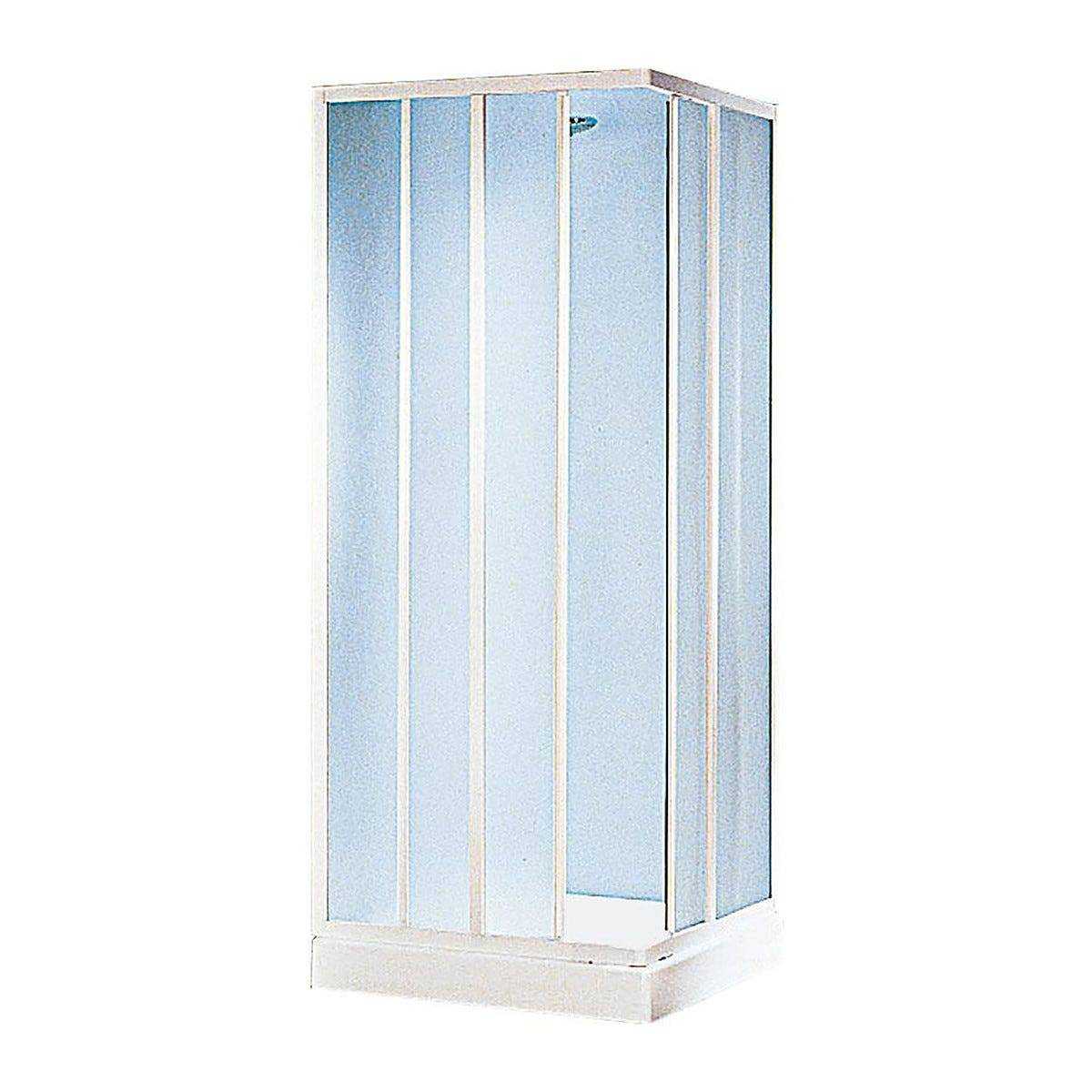 box doccia grancaym rett (65-75)x(80-90) h185cm vetro temperato 3mm stampato  profili bianchi