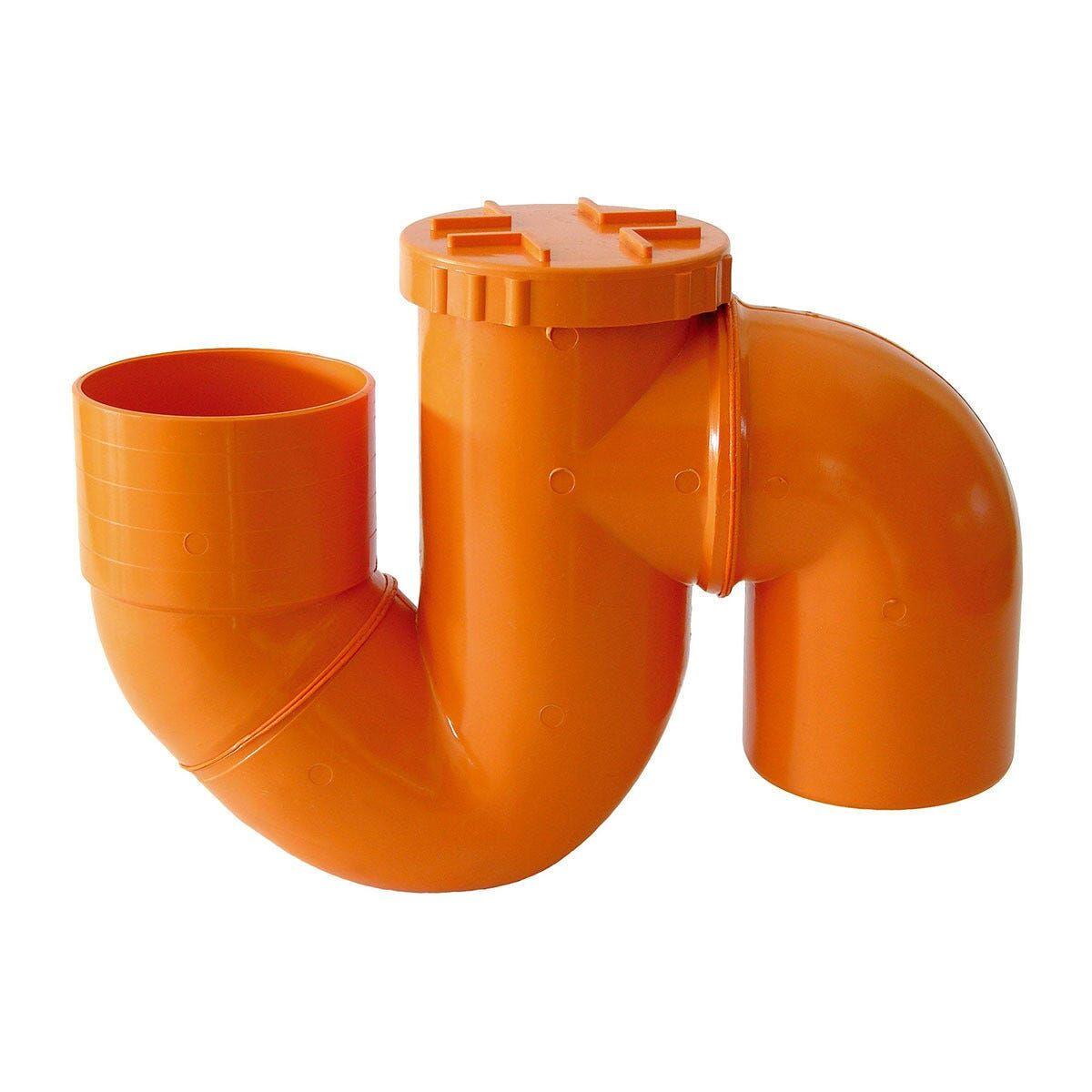 sifone verticale chiuso Ø 125 mm pvc arancio