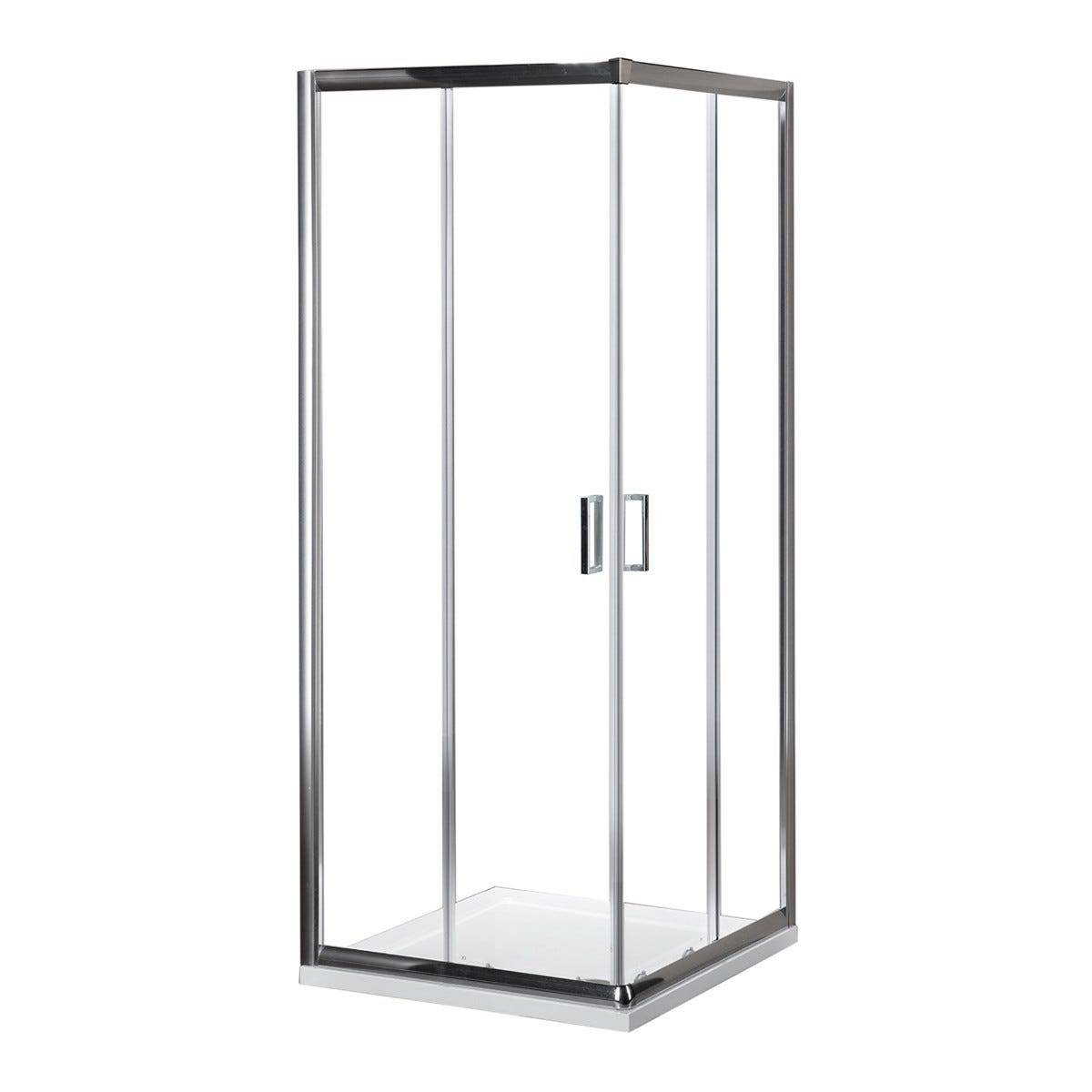 box doccia tito (68-70)x(88-90) h 190 cm vetro temperato trasparente 6 mm profili cromati