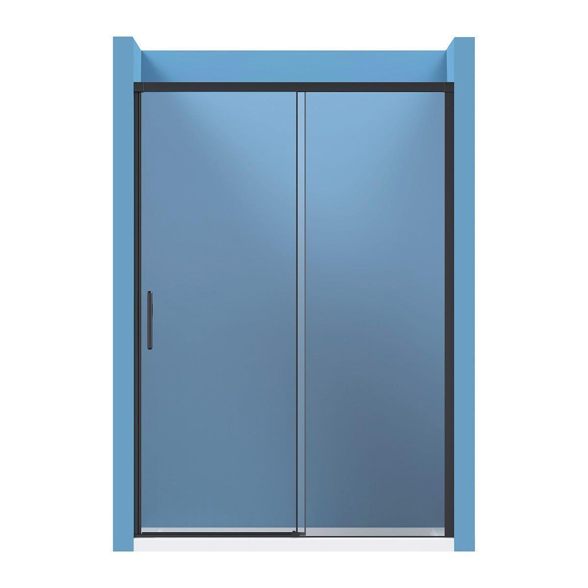 Porta Scorrevole Morena(116-120) H 195cm Vetro Temperato Trasparente 8 Mm Profili Neri Opachi