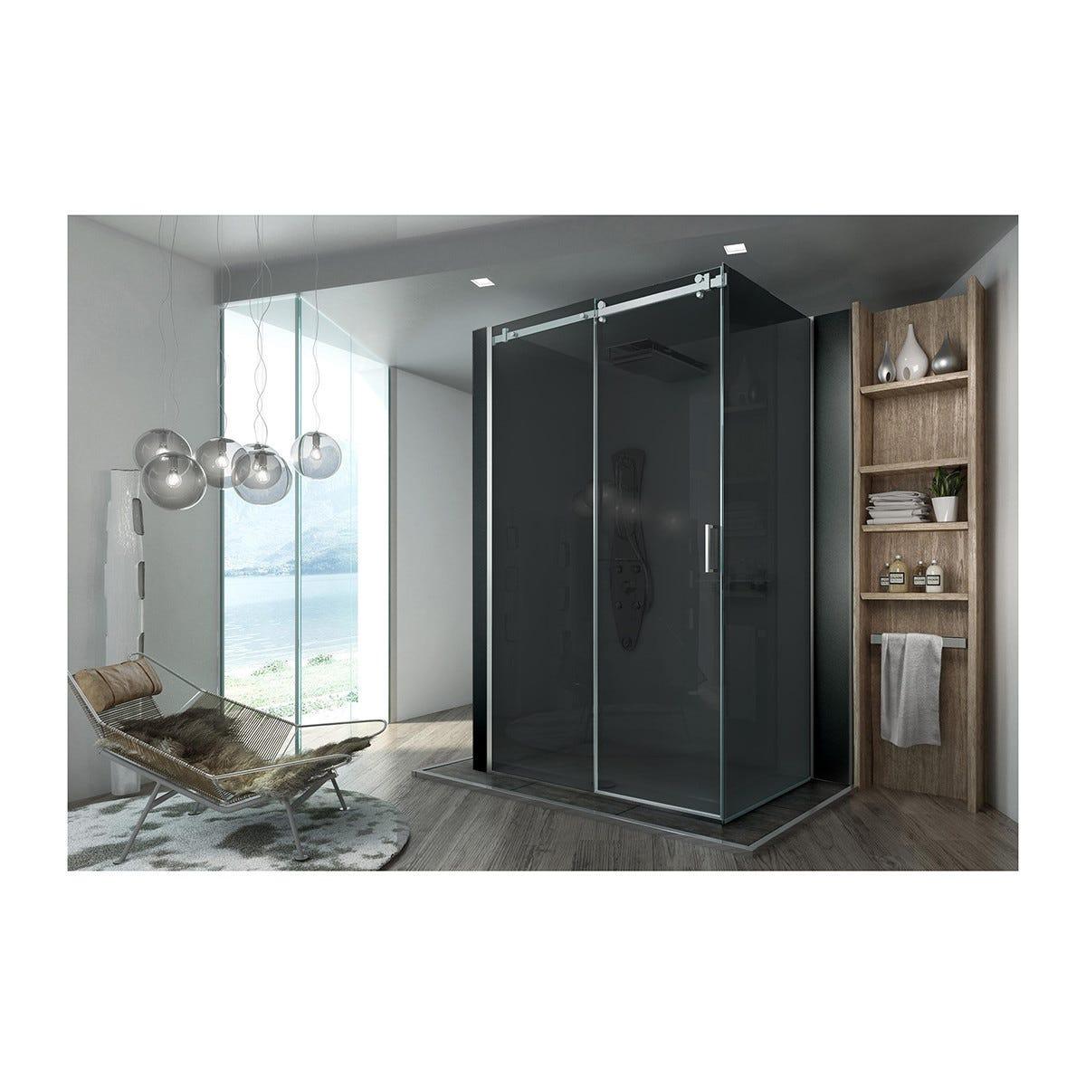 porta doccia roller scorrevole 117-119,5 h200cm vetro temperato  8mm fume'  profili cromati