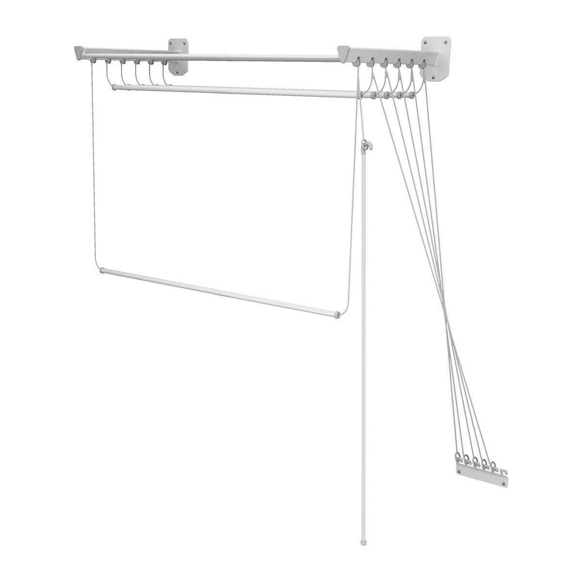 colombo new scal stendibiancheria sali scendi 120 cm fissaggio soffitto o muro acciaio verniciato bianco