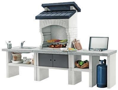 palazzetti barbecue  bilbao 270x70x186 cm postazione grill a gas lavello in acciaio 1000 kg