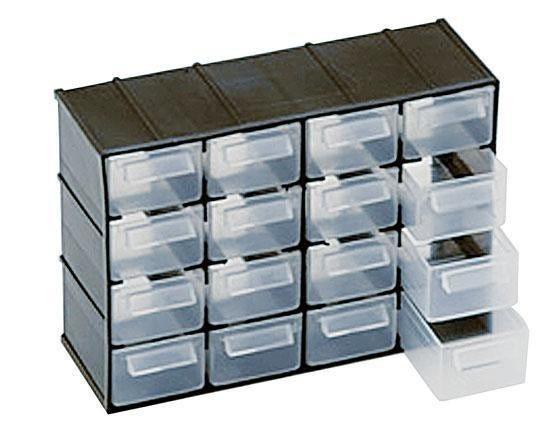 ART Cassettiera Portaminuterie Art Plast 16 Cassetti Trasparenti 221x156x85 Mm (Lxpxh)
