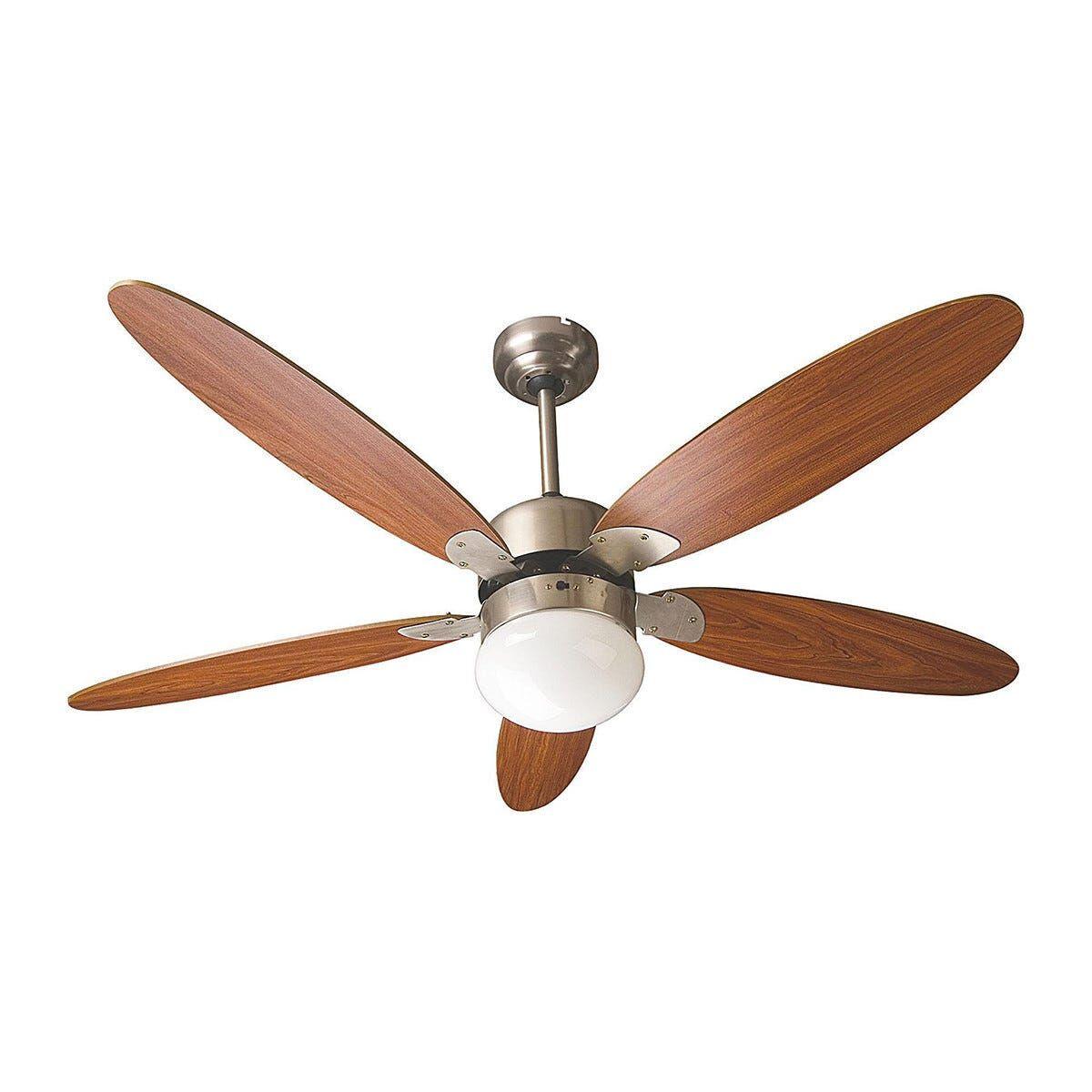 ventilatore da soffitto 5 pale Ø 130 cm marrone con luce e comando a cordicella 3 velocita'