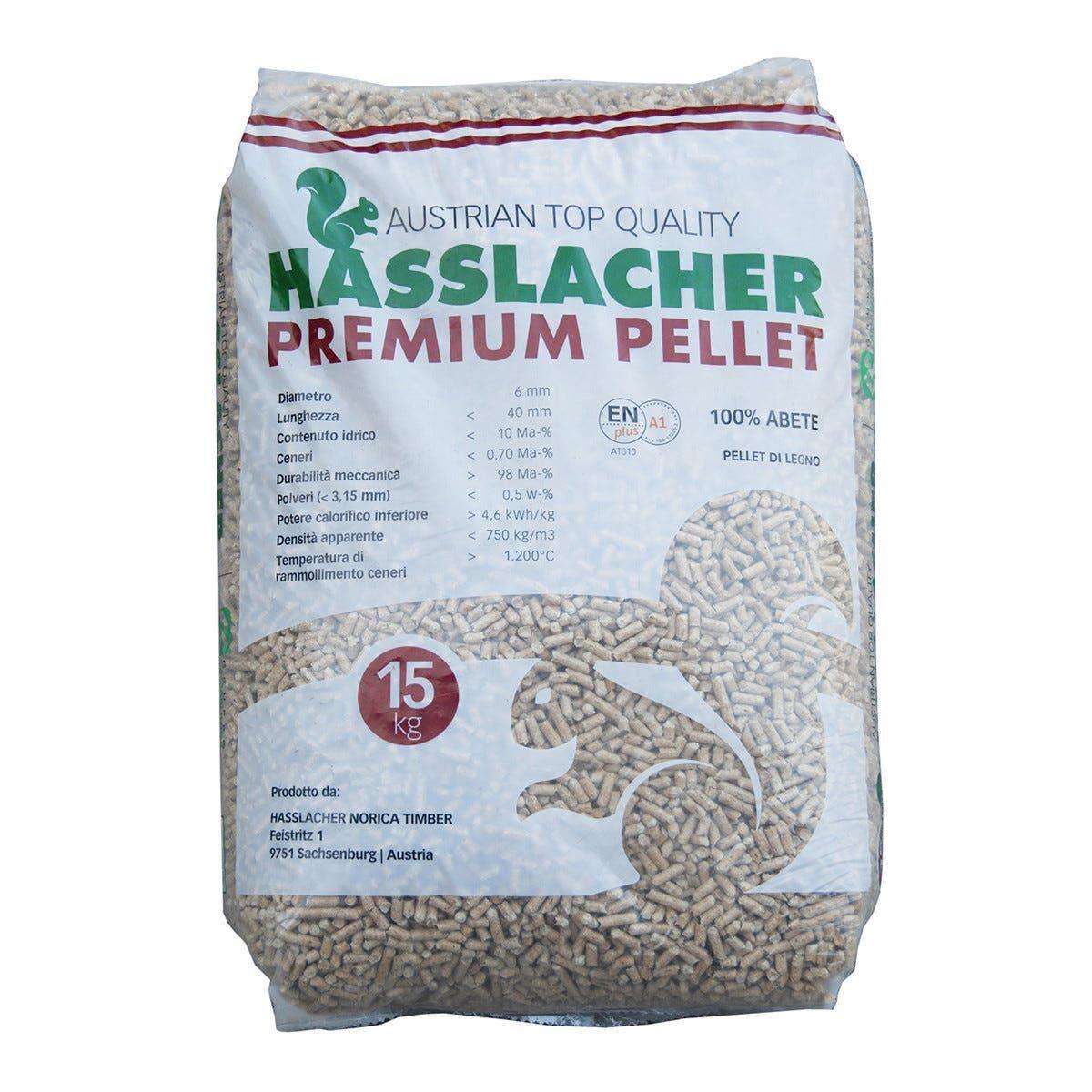 Pellet Hasslacher Premium 100% Abete En Plus A1 15 Kg