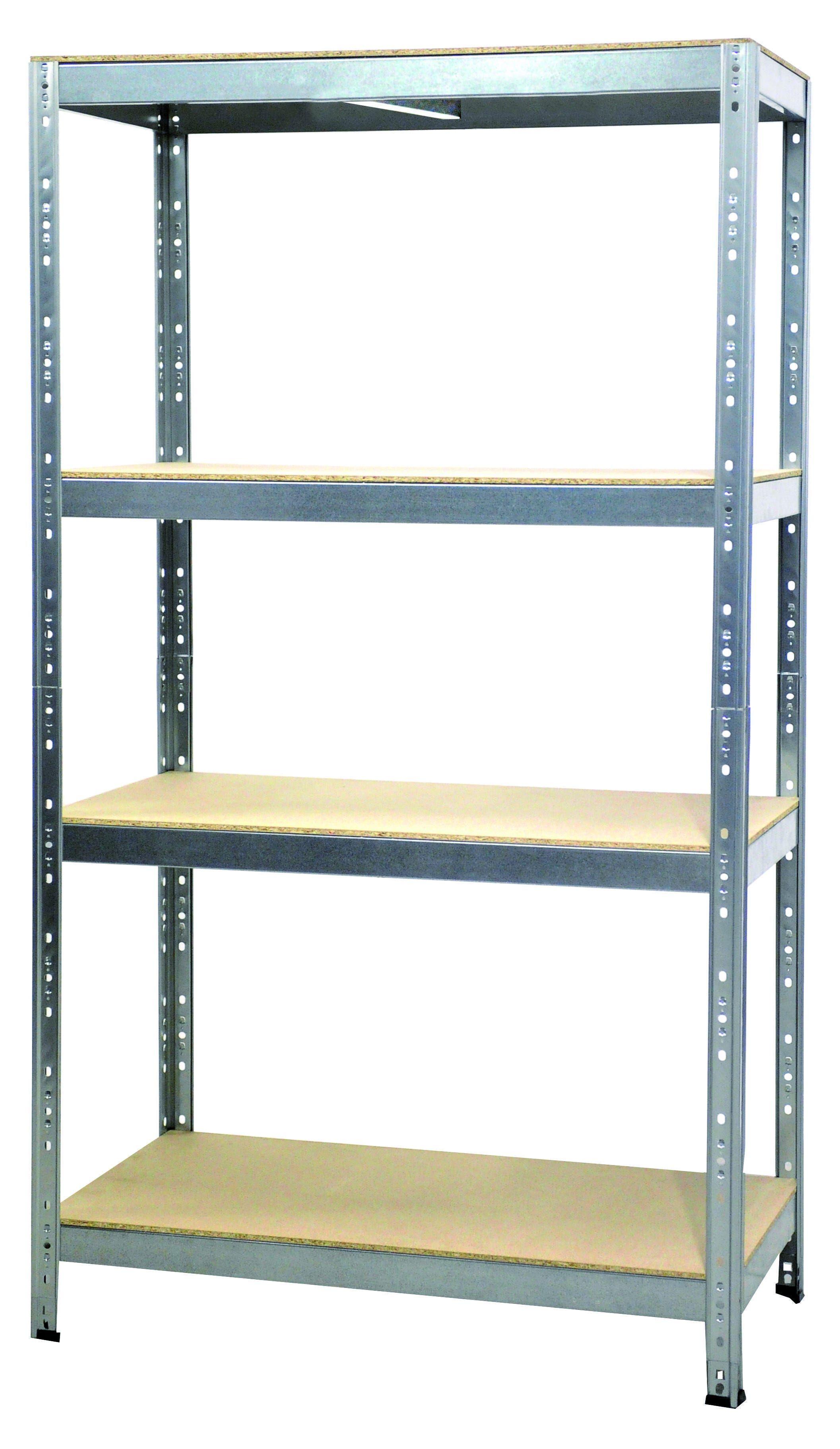 GRIMA Scaffale Legno/metallo 4 Ripiani 300 Kg Zincato Ad Incastro 120x180x50 Cm (Lxhxp)
